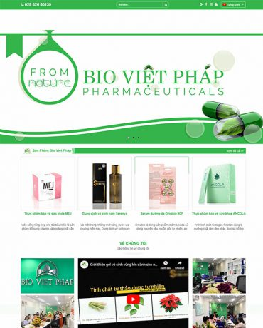 Mẫu Website thực phẩm bảo vệ sức khỏe